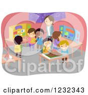 Clipart Of A Teacher And Diverse Students At A School Science Fair Royalty Free Vector Illustration