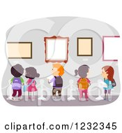 Clipart Of Diverse School Kids On An Art Museum Field Trip Royalty Free Vector Illustration