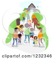 Clipart Of School Children And Adults Walking To A Building Royalty Free Vector Illustration