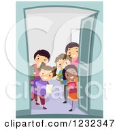 Clipart Of A Diverse Group Of Students Welcoming At A Door For A Study Group Royalty Free Vector Illustration by BNP Design Studio