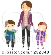 Clipart Of A Happy Mom Walking Her Children To School Royalty Free Vector Illustration