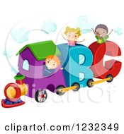 Clipart Of Happy Diverse Kids Playing On An Abc Train Royalty Free Vector Illustration