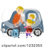 Clipart Of A Happy Father Ready To Drive His Children To School Royalty Free Vector Illustration