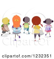 Clipart Of A Rear View Of Diverse School Children Walking Royalty Free Vector Illustration