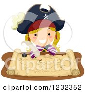 Clipart Of A Blond Pirate Girl Drawing On A Treasure Map Royalty Free Vector Illustration by BNP Design Studio