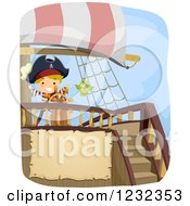 Clipart Of A Pirate Boy And Parrot At A Ships Helm With Text Space Royalty Free Vector Illustration