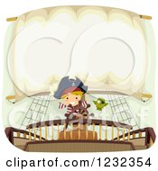 Clipart Of A Pirate Boy And Parrot At A Ships Helm With Text Space On A Sail Royalty Free Vector Illustration