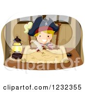 Clipart Of A Blond Pirate Boy Drawing On A Treasure Map Royalty Free Vector Illustration by BNP Design Studio