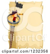 Clipart Of A Pirate Boy Using A Telescope In A Crows Nest Over Parchment Text Space Royalty Free Vector Illustration