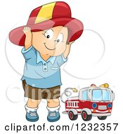 Clipart Of A Caucasian Toddler Boy Pretending To Be A Fireman Royalty Free Vector Illustration