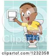 Clipart Of A Black Potty Training Toddler Boy Using A Toilet Royalty Free Vector Illustration by BNP Design Studio