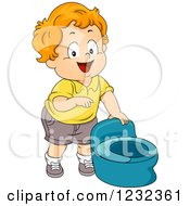 Caucasian Potty Training Toddler Boy Pointing At A Seat