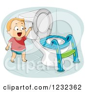 Clipart Of A Potty Training Toddler Boy Flushing A Toilet Royalty Free Vector Illustration