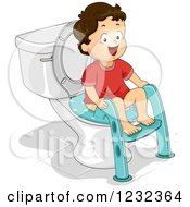 Clipart Of A Caucasian Potty Training Toddler Boy Using A Seat Royalty Free Vector Illustration
