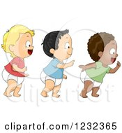 Clipart Of Diverse Baby Toddler Boys Walking In Line Royalty Free Vector Illustration