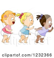 Clipart Of Diverse Baby Toddlers Girls Walking In Line Royalty Free Vector Illustration