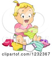 Clipart Of A Caucasian Toddler Girl Choosing A Pair Of Underwear Royalty Free Vector Illustration by BNP Design Studio