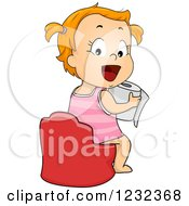 Clipart Of A Potty Training Toddler Girl Holding A Toilet Paper Roll Royalty Free Vector Illustration by BNP Design Studio