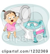 Clipart Of A Potty Training Toddler Girl Flushing A Toilet Royalty Free Vector Illustration