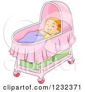 Clipart Of A Caucasian Toddler Girl Sleeping In A Bassinet Royalty Free Vector Illustration by BNP Design Studio
