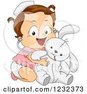 Clipart Of A Caucasian Toddler Girl Pretending To Be A Veterinarian For Her Stuffed Bunny Royalty Free Vector Illustration