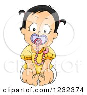 Clipart Of A Caucasian Toddler Girl Sitting With A Pacifier And Clip Royalty Free Vector Illustration