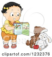 Clipart Of A Caucasian Toddler Girl Teaching Her Stuffed Animals Royalty Free Vector Illustration