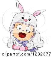 Clipart Of A Caucasian Toddler Girl In A Bunny Winter Hat Royalty Free Vector Illustration