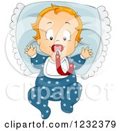 Clipart Of A Caucasian Toddler Boy With A Pacifier And Pillow Royalty Free Vector Illustration