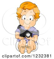 Clipart Of A Caucasian Toddler Boy Pretending To Be A Photographer Royalty Free Vector Illustration by BNP Design Studio