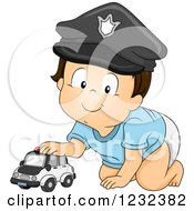 Clipart Of A Caucasian Toddler Boy Pretending To Be A Police Man Royalty Free Vector Illustration
