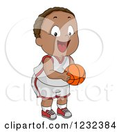 Clipart Of A Black Toddler Boy Pretending To Be A Basketball Player Royalty Free Vector Illustration by BNP Design Studio