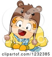 Clipart Of A Caucasian Toddler Girl Wearing Winter Cothes And A Bear Hat Royalty Free Vector Illustration