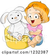 Clipart Of A Potty Training Toddler Girl With A Bunny On A Potty Royalty Free Vector Illustration