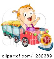 Clipart Of A Caucasian Toddler Girl Playing On A Train Royalty Free Vector Illustration