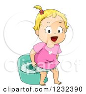 Clipart Of A Potty Training Toddler Girl Royalty Free Vector Illustration
