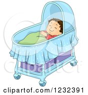 Clipart Of A Caucasian Toddler Boy Sleeping In A Bassinet Royalty Free Vector Illustration by BNP Design Studio