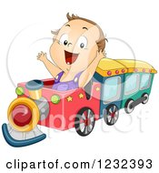 Clipart Of A Happy Caucasian Toddler Boy Playing On A Train Royalty Free Vector Illustration