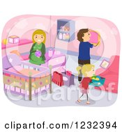 Clipart Of A Girl Helping Her Parents Decorate A Baby Nursery Royalty Free Vector Illustration
