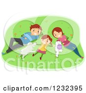 Clipart Of A Happy Girl And Her Parents Resting On A Lawn With Their Pets Royalty Free Vector Illustration