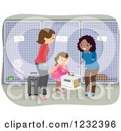Clipart Of A Girl And Mother Ready To Travel Dropping Their Cat Off At A Kennel Royalty Free Vector Illustration
