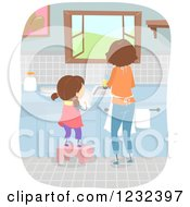 Clipart Of A Mom And Daughter Washing And Drying Dishes Royalty Free Vector Illustration by BNP Design Studio