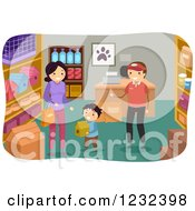 Clipart Of A Salesman Helping A Mom And Son Pick Out A Bird House In A Pet Store Royalty Free Vector Illustration