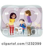 Clipart Of A Woman Accepting A Boy And His Moms Dog At A Kennel Royalty Free Vector Illustration