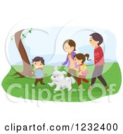 Clipart Of A Happy Family And Dog Walking In A Park Royalty Free Vector Illustration