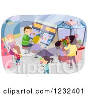 Clipart Of A Busy Arcade With Parents And Children Royalty Free Vector Illustration