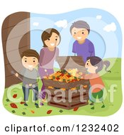 Clipart Of A Happy Family Raking And Composting Leaves Royalty Free Vector Illustration by BNP Design Studio