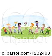 Clipart Of Diverse People Playing Tug Of War Royalty Free Vector Illustration