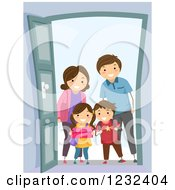 Clipart Of A Happy Visiting Family At A Door Royalty Free Vector Illustration