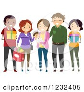 Clipart Of A Group Of Diverse Godparents And Friends At A Baby Baptism Royalty Free Vector Illustration